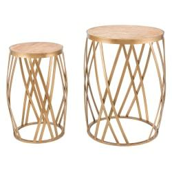 Zuo Modern Criss Cross Nesting Tables, Round, Gold, Set Of 2 Tables