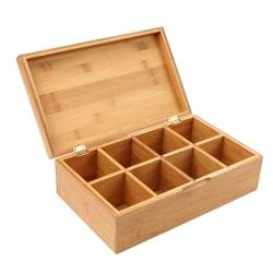 Mind Reader Bamboo 8-Compartment Tea Storage Chest, 3 5/8in.H x 12 1/4in.W x 7 1/4in.D, Brown