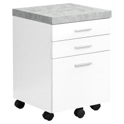 Monarch Specialties Letter/Legal-Size Vertical Filing Cabinet, 3 Drawers, White/Cement-Look