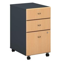 Bush Business Furniture Office Advantage 3 Drawer Mobile File Cabinet, Beech/Slate, Premium Installation