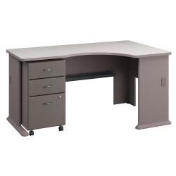 Bush Business Furniture Office Advantage Right Corner Desk With Mobile File Cabinet, Pewter/White Spectrum, Premium Installation