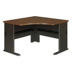 Bush Business Furniture Office Advantage Corner Desk 48in.W, Sienna Walnut/Bronze, Premium Installation