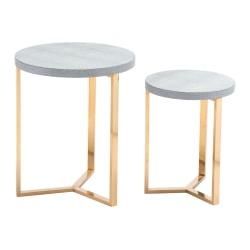 Zuo Modern Gela Tables, Round, Gray/Gold, Set Of 2 Tables