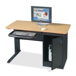 Balt Locking Computer Workstation, 28 3/4in.H x 48in.W x 24in.D, Black/Teak