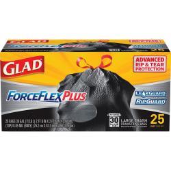 Glad(R) ForceFlex(R) Drawstring Trash Bags, 30 Gallons, Black, Box Of 25