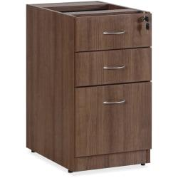 Lorell(R) Essentials Series 22in.D 3-Drawer Fixed Pedestal File Cabinet, Walnut