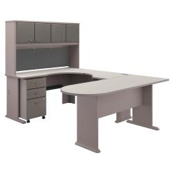Bush Business Furniture Office Advantage U Shaped Corner Desk With Hutch And Mobile File Cabinet, Pewter/White Spectrum, Premium Installation
