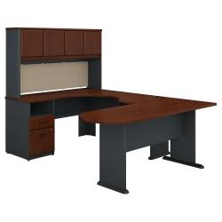 Bush Business Furniture Office Advantage U Shaped Desk And Hutch With Peninsula And Storage, Hansen Cherry, Premium Installation
