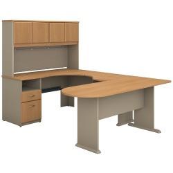 Bush Business Furniture Office Advantage U Shaped Desk And Hutch With Peninsula And Storage, Light Oak/Sage, Standard Delivery