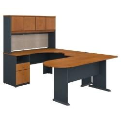 Bush Business Furniture Office Advantage U Shaped Desk And Hutch With Peninsula And Storage, Natural Cherry/Slate, Standard Delivery