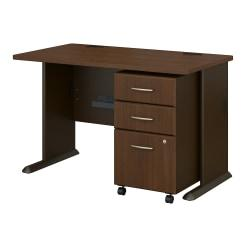 Bush Business Furniture Office Advantage 48in.W Desk With Mobile File Cabinet, Sienna Walnut/Bronze, Standard Delivery