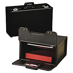 Stebco Vinyl Upright Catalog Case With Steel Padded Handle, 13 1/2in.H x 18 1/4in.W x 8 3/4in.D, Black