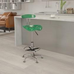 Flash Furniture Vibrant Drafting Stool, Green/Chrome