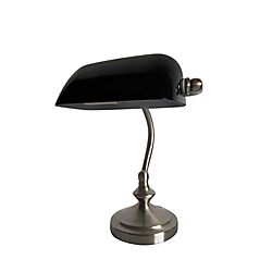Simple Designs Traditional Mini Banker's Desk Lamp, 9 9/10in.H, Black Shade/Brushed Nickel Base