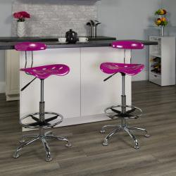 Flash Furniture Vibrant Drafting Stool, Candy Heart/Chrome