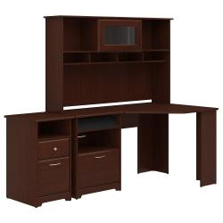 Bush Furniture Cabot Corner Desk With Hutch And 2 Drawer File Cabinet, Harvest Cherry, Standard Delivery