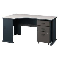 Bush Business Furniture Office Advantage Left Corner Desk With Mobile File Cabinet, Slate/White Spectrum, Standard Delivery