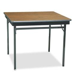Barricks Special Size Folding Table, Square, 30in.H x 36in.W x 36in.D, Black\/Walnut