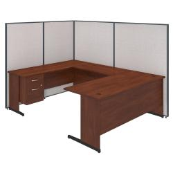 Bush Business Furniture C-Leg U-Shaped Laminate Computer Desk With 3/4 Pedestal And ProPanels, 67in.H x 97 7/8in.W x 74in.D, Light Gray, Standard Delivery