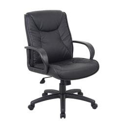 Boss Office Products Chairs@Work Executive Series Vinyl Chair, Mid-Back, Black