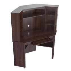 Inval Velvediere Corner Workcenter With Hutch, Espresso-Wengue