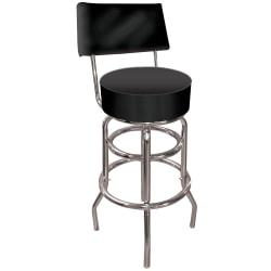 Trademark Global High-Grade Padded Bar Stool, With Back, Black/Chrome