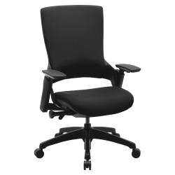 Lorell(R) Serenity Series Executive Multifunction High-Back Chair, Fabric, Black