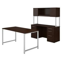 Bush Business Furniture 400 Series Table Desk And Credenza With File Drawers And Hutch, 60in.W x 30in.D, Mocha Cherry, Premium Installation