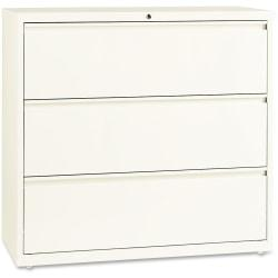 Lorell(R) Fortress Series 42ft.'W 3-Drawer Steel Lateral File Cabinet, Cloud White