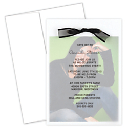 Great Papers!(R) Graduation Photo Invitation Kit, 5 1/2in. x 7 3/4in., Grad Overlay, White, Pack Of 12