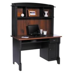 "Realspace® Shore Mini Solutions Computer Desk With Hutch, 63 1/4""H x 47 1/2""W x 23 1/2""D, Antique Black"