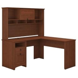 Bush Furniture Buena Vista L Shaped Desk With Hutch, Serene Cherry, Standard Delivery