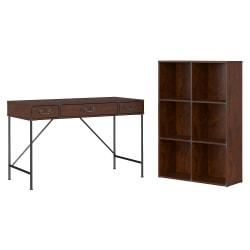 kathy ireland(R) Office by Bush Furniture Ironworks 48in.W Writing Desk And 6 Cube Bookcase, Coastal Cherry, Standard Delivery