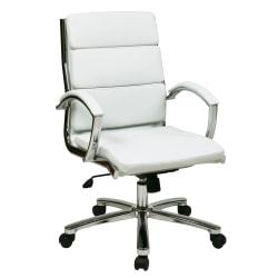Office Star(TM) WorkSmart Executive Faux Leather Mid-Back Chair, White/Silver