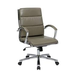 Office Star(TM) WorkSmart Executive Faux Leather Mid-Back Chair, Smoke/Silver