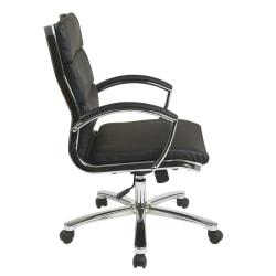 Office Star(TM) WorkSmart Executive Faux Leather Mid-Back Chair, Black/Silver