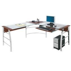 Realspace(R) Mezza L-Shaped Glass Computer Desk, Cherry/Chrome