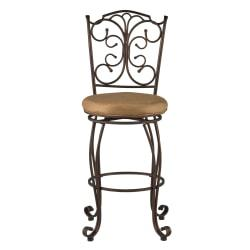 Linon Home Decor Products Gathered Back Counter Stool, 30in.H, Light Brown/Brown