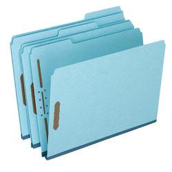 Pendaflex(R) Heavy-Duty Pressboard Folders With Embossed Fasteners, Letter Size, 50% Recycled, Blue, Pack Of 25