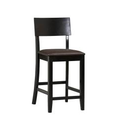 Linon Home Decor Products Torino Bar Stool, 24in.H, Dark Brown/Black