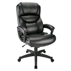 Realspace(R) Fennington Bonded Leather High-Back Chair, Black