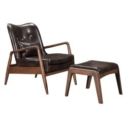 Zuo Modern Bully Lounge Chair And Ottoman, Brown/Walnut