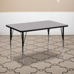 Flash Furniture Rectangular Activity Table, 30 1/8in.H x 24in.W x 48in.D, Gray/Chrome