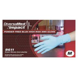 DiversaMed 14mil ProGuard High-Risk EMS Exam Glove - Medium Size - Latex - Blue - Disposable, Non-sterile, Beaded Cuff, Powder-free, Ambidextrous - For Medical,