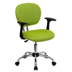 Flash Furniture Mesh Mid-Back Swivel Task Chair With Arms, Apple Green/Silver