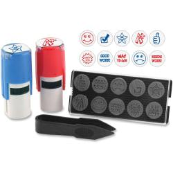 Stamp-Ever U.S. Stamp Sign 10-in-1 Stamp Kit - Message/Design Stamp - Needs Work, Good Work, Great Job, Thumbs Up, Star, Smiley Face, Frowning Face, Checkmark,