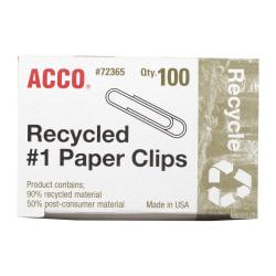ACCO(R) Recycled Paper Clips, Smooth Finish, #1 Size, Silver, Box Of 100