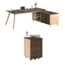 Ameriwood(TM) Home AX1 3-Piece L-Shape Desk And Mobile File Set, Walnut