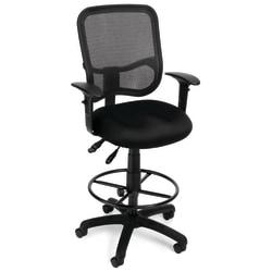 OFM Mesh Comfort Series Ergonomic Fabric Task Chair With Arms And Drafting Kit, Black/Black