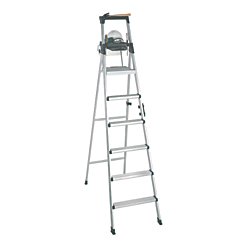 Cosco Lightweight Aluminum Folding Step Ladder With Leg Lock And Handle, 300 Lb, 8ft.